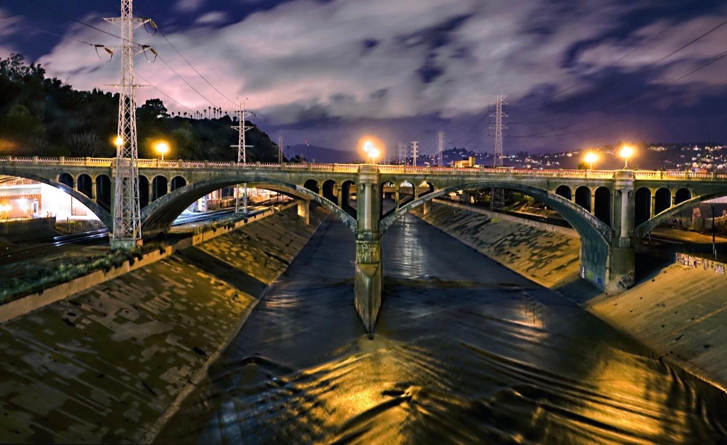 Broadway bridge as storm clears late night
