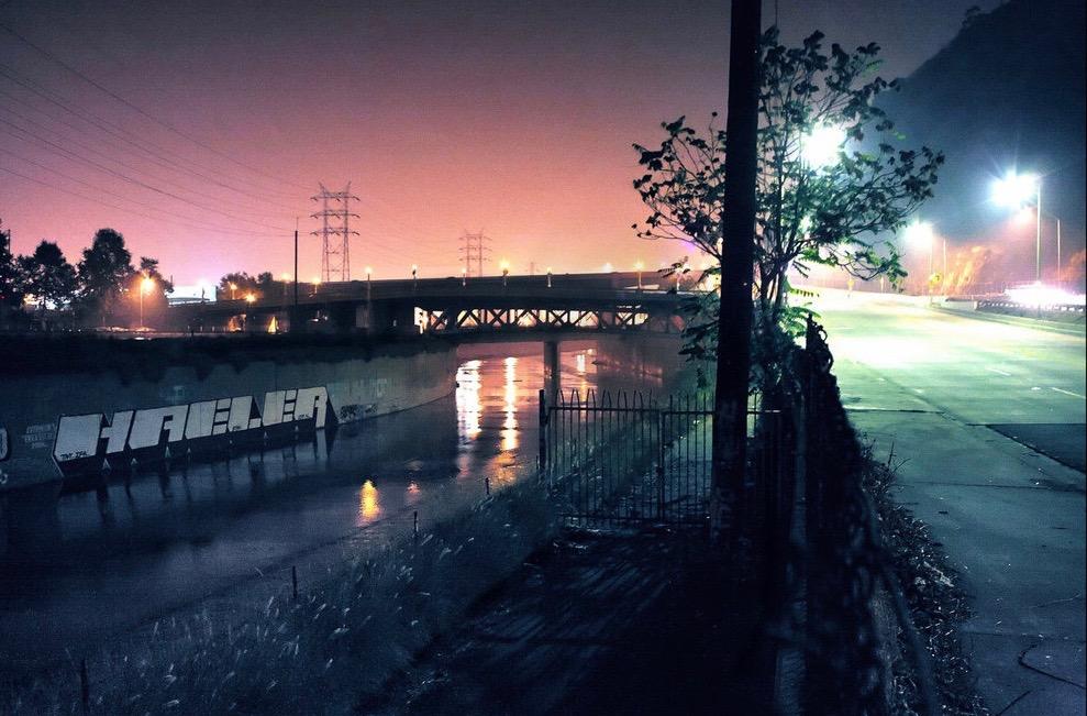 Windy late night at the Riverside bridge