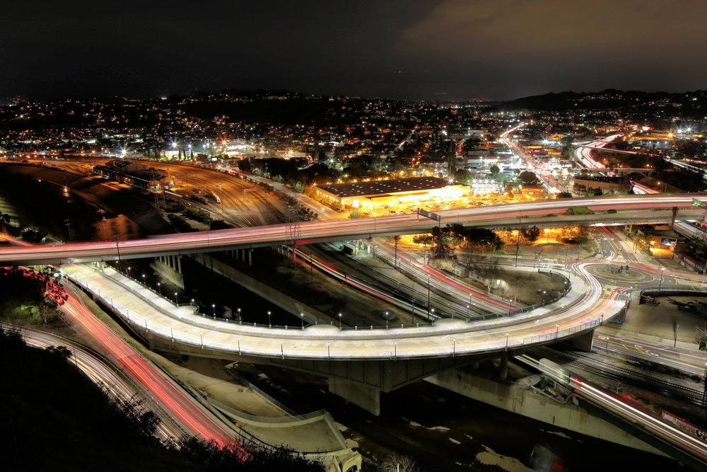 Night HDR photo of Riverside Drive viaduct