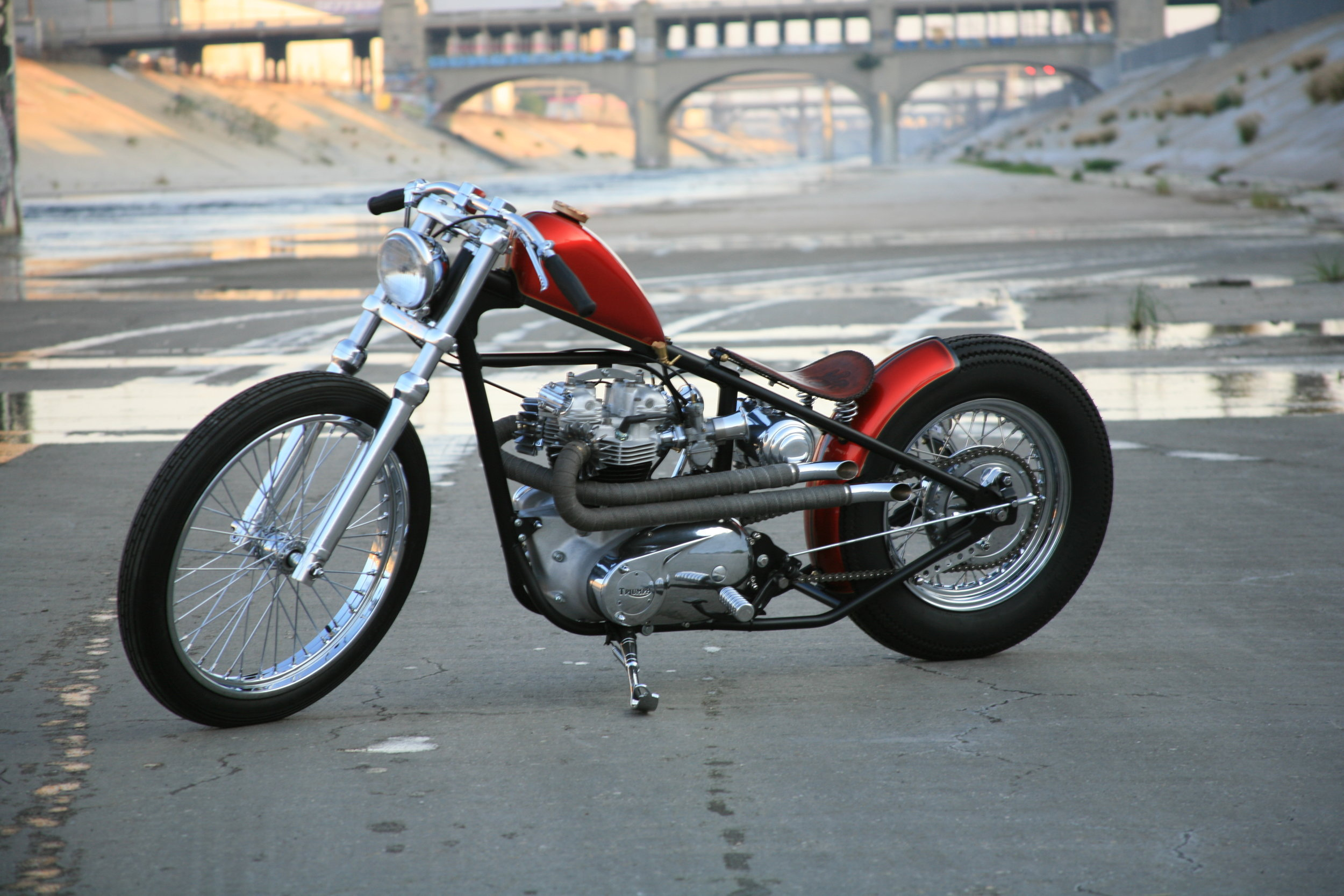 Photo of a custom Chopper taken in the LA river
