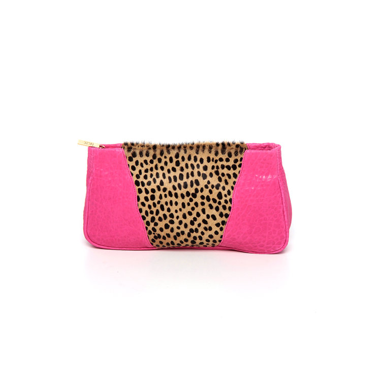 Pink and cheetah print clutch