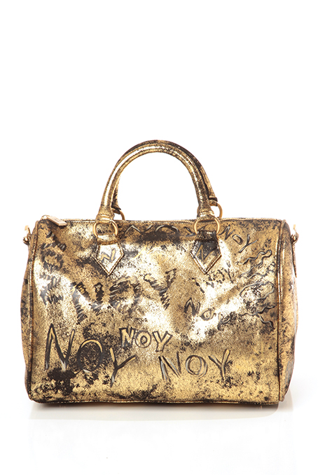 Gold leather bag with graffiti