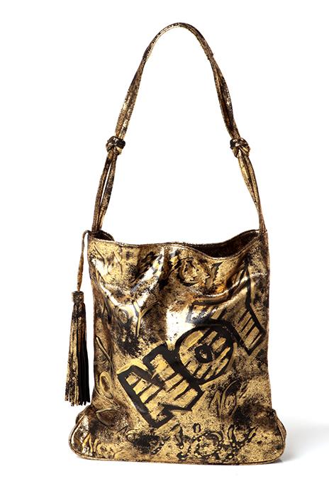 Gold leather shoulder bag