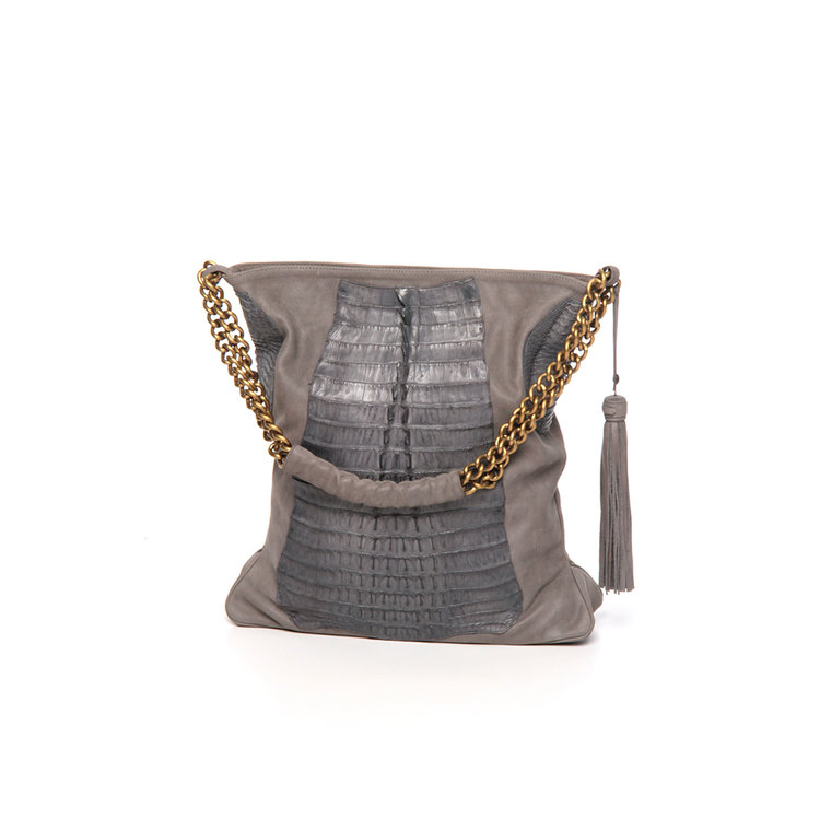 Grey Crocodile and suede bag