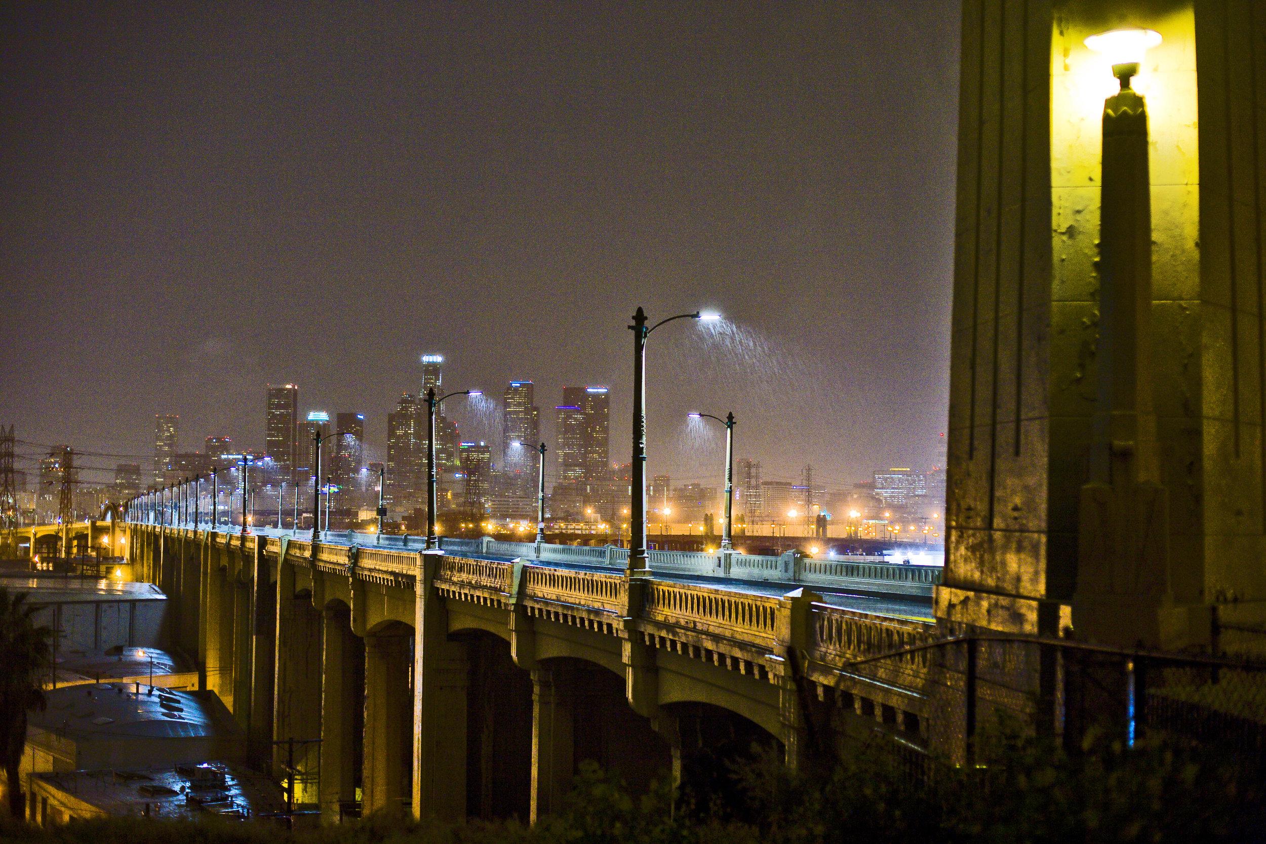 Night rain 6th Street bridge