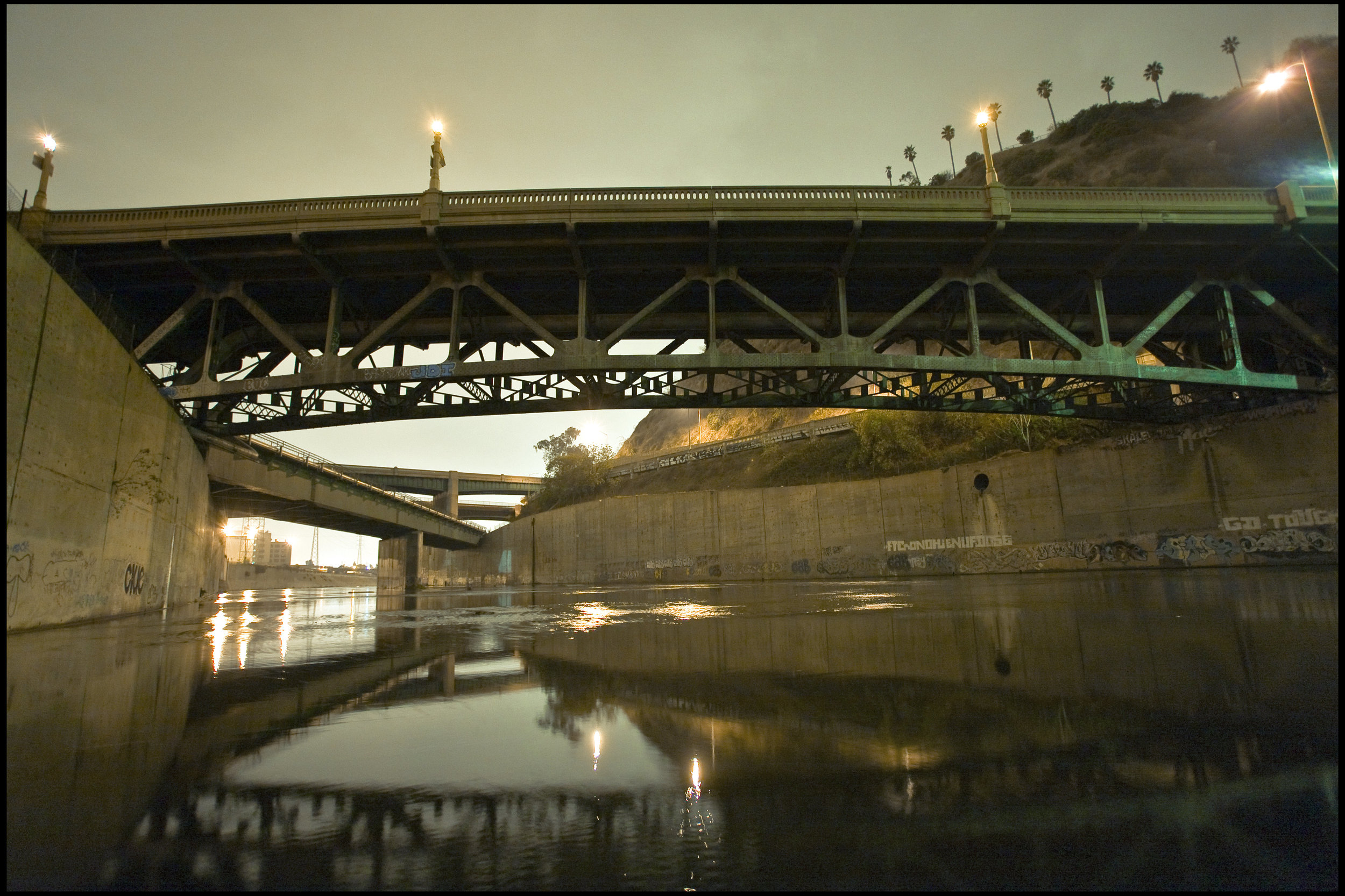 Riverine view of the old Riverside Drive bridge, late night 2007