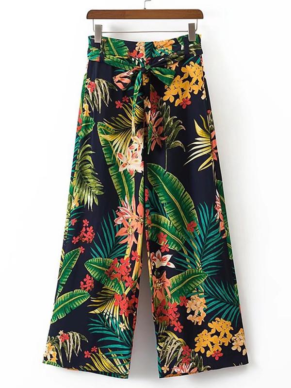Tropical Print - Tropical Print Tie Waist Wide Leg Pants