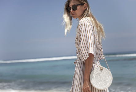 Round White Wash - Basket Bag