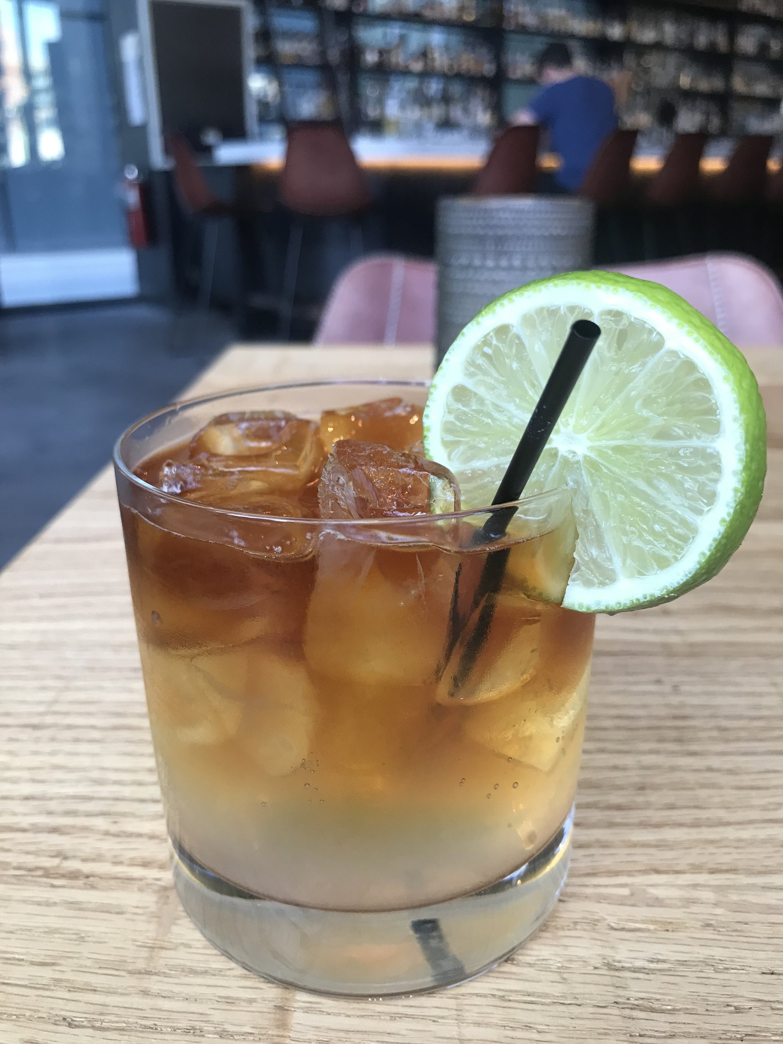 Dark & Stormy - Aged in house black rum, ginger beer with lime