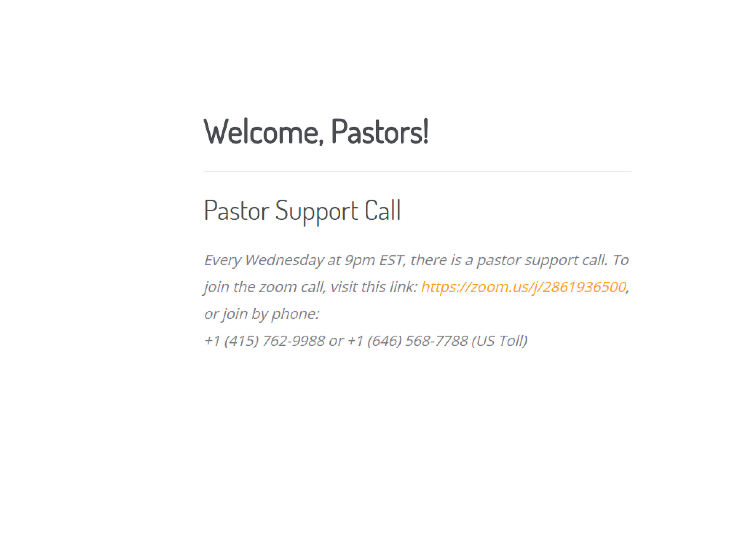 Wednesday Pastor Support Call (HQ)