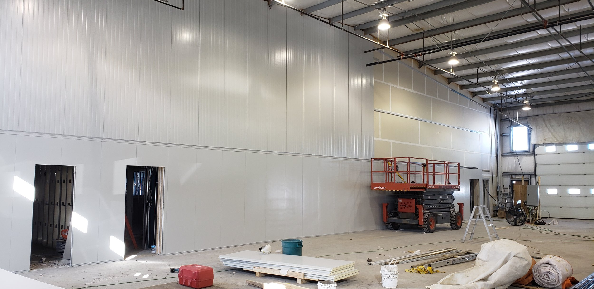 Production area interior wall installed