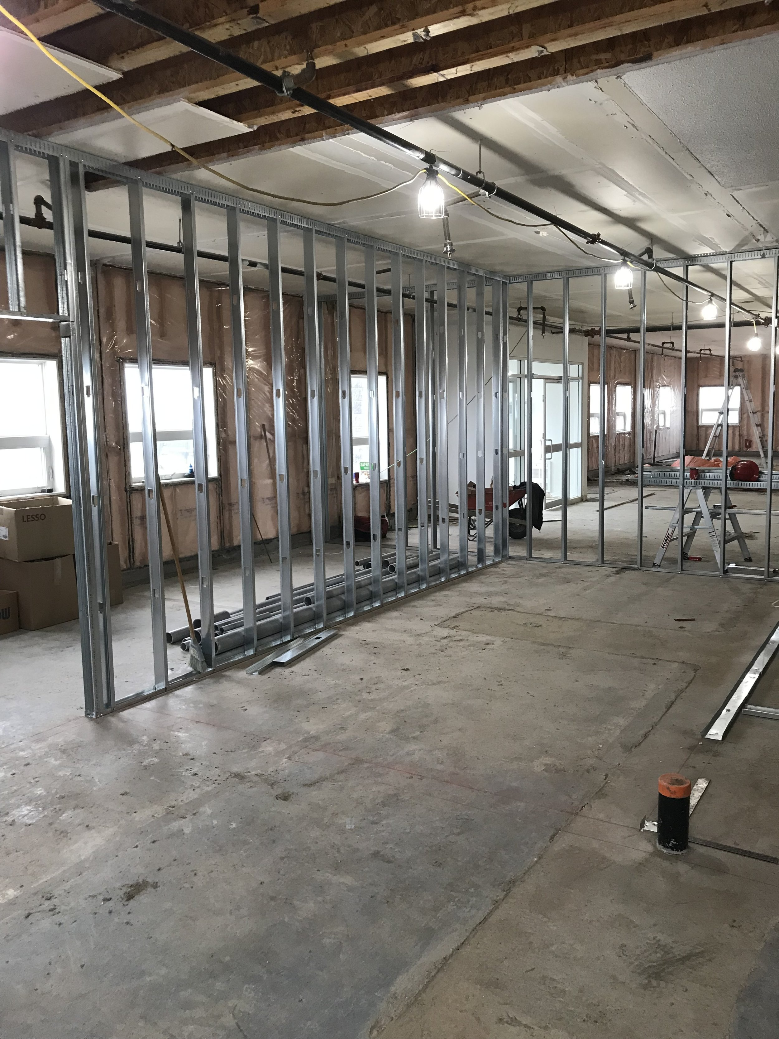 First floor processing area framing