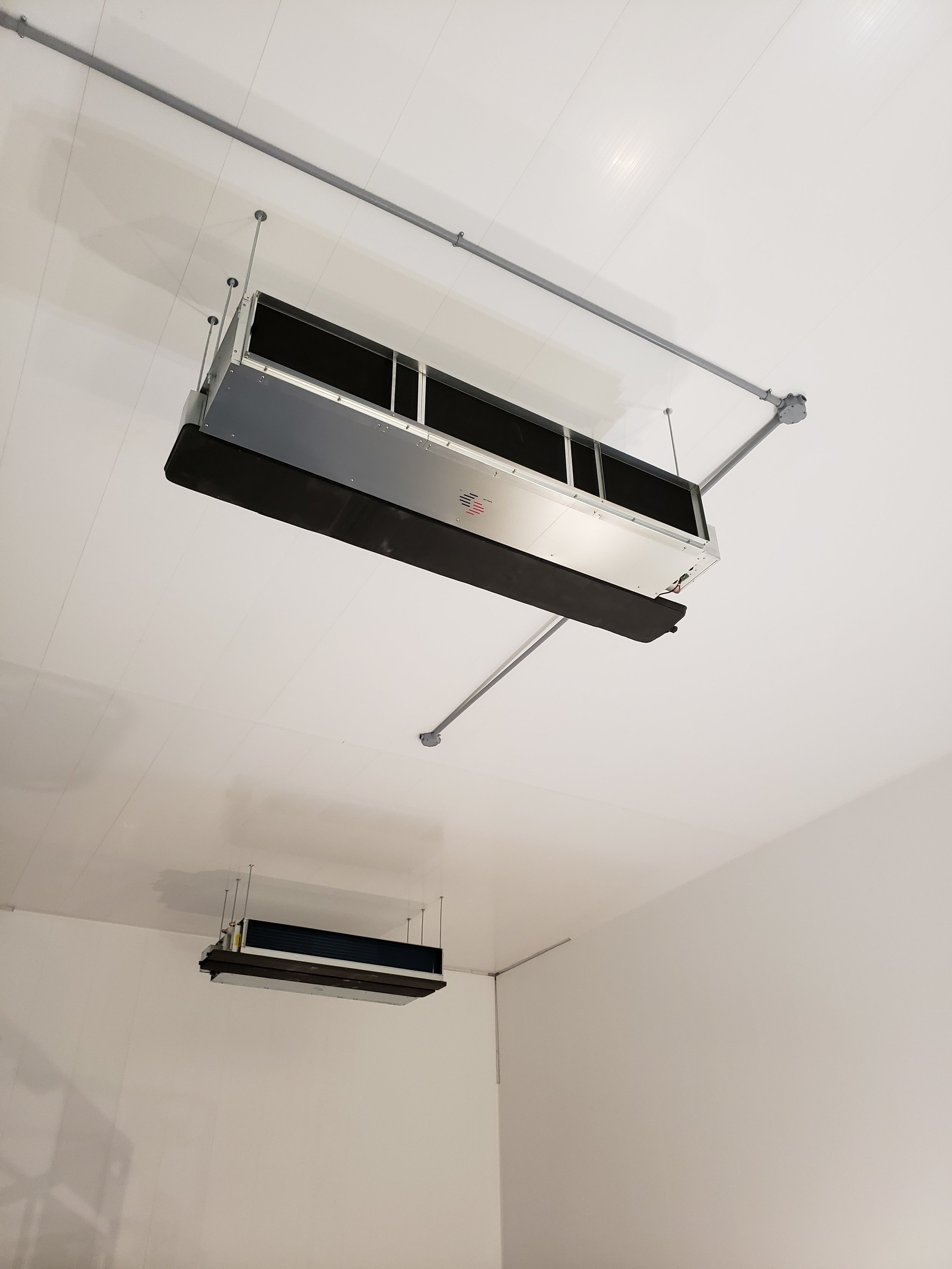 Fan coil units installed in the grow room