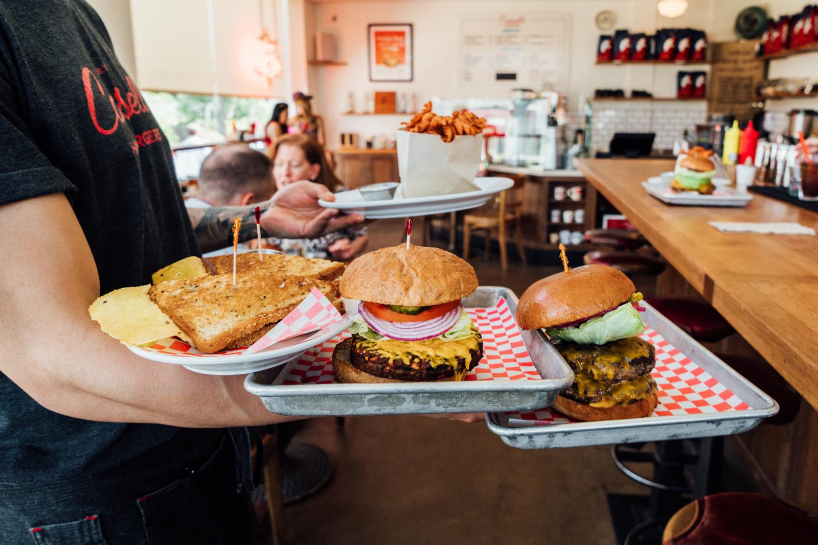 Patty Melt, Vegan Burger, Double 1/3lb Cheeseburger, Sweet Potato Fries
