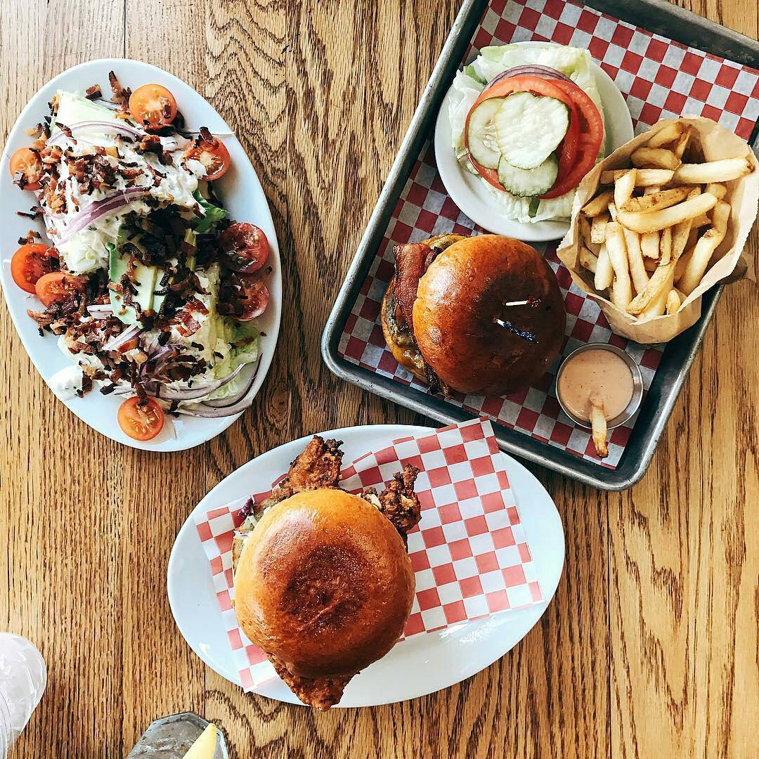 Wedge Salad, Bacon Burger, Fried Chicken Sando, Fries, House Thousand Island Dressing