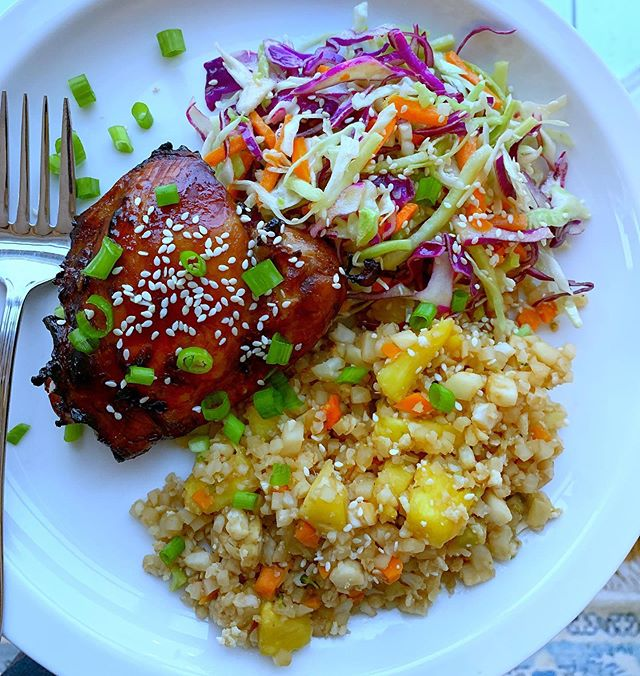 This air fryer Asian glazed chicken is on heavy rotation in my house- so good and kid-approved. Recipe is from @skinnytaste . I make it with cauliflower fried rice (just add veggies and pineapple to cauli rice, sauté with fresh ginger and a little bit of coconut aminos or soy sauce🍍So yummy and whole30/Keto/paleo friendly! If you have an air fryer, I would love to hear your favorite recipes!😊 . . . . #airfryer #airfryerrecipes #paleorecipes #ketomeals #whole30 #whole30recipes #whole30approved #skinnytasteairfryer #skinnytaste #iinalumni #nutritioncoach #kidfriendlymeals