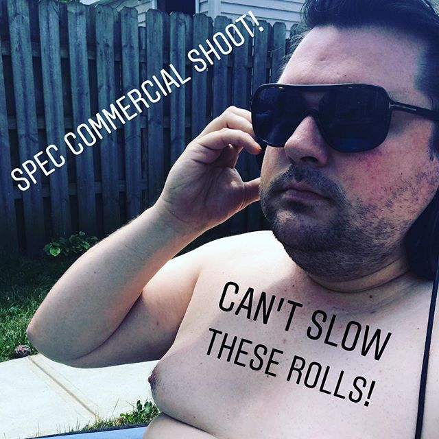 Sometimes, you do a shirtless shoot. Sometimes it pays to be fat & pale. . . . . . . #chicago #summer #shoot #commercial #actor #actorlife #flabby #pale #cantslowtheserolls #rolls #fat #bellydrum #beats #freelance