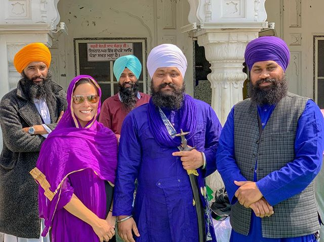 So loved learning about the fashionable and giving Sikh community and their marvelous Golden Temple. ✨ . I walked into the gentleman with the purple turbant as his Guru was teaching him the proper way to wrap it. The 4 men then struck a pose for what is going to be one of my favorite experiences and photographs ever. 💜 . . . . #lifelonglearner #sikh #sikhcommunity #sikhtemple #sikhmodels #sikhmodel #sikhbeard #sikhfashion #sikhworld #sikhbeardclothing #sikhstyle #turbant #purple #gratitude #peace #tolerance #community #oneness  #bethechange #authorsofinstagram #vegan #veganswhotravel #amritsar #punjab #goldentempleamritsar  #india #indialove #incredibleindiaofficial #incredibleindia🇮🇳
