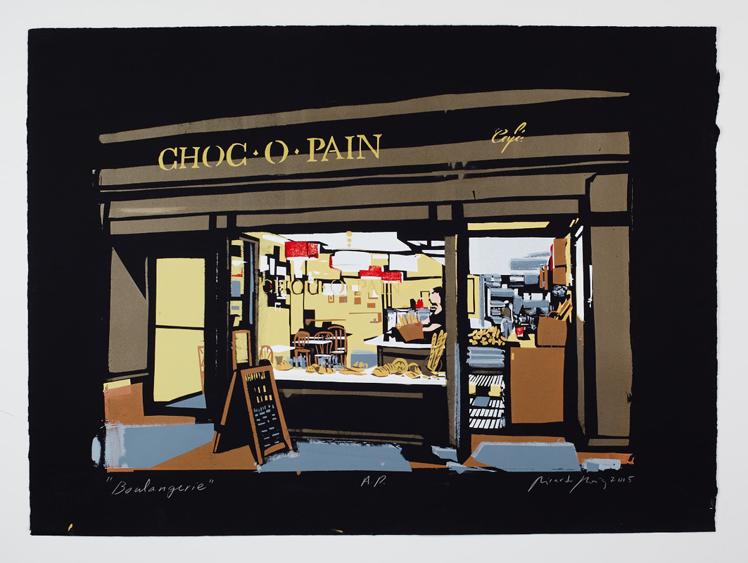 Commissioned portrait of a Choc-o-Pain cafe storefront by New Jersey based artist Ricardo Roig.