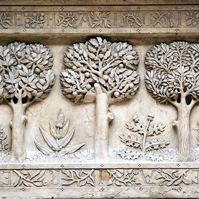 Celtic style natural motifs Bourges 15h c 3 trees