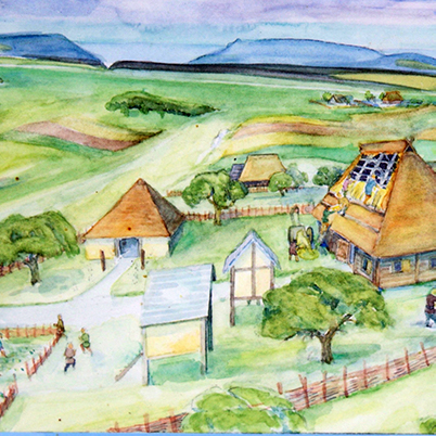 Heidengraben sketch of Iron Age village