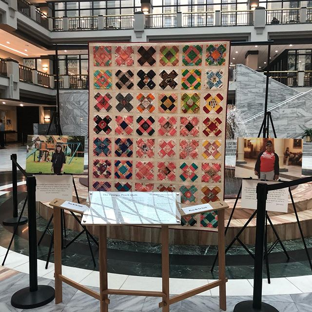I had a work meeting at City Hall today and as I entered I was greeted by the Moms Demand Action quilt.  It's beautiful and powerful but it breaks my heart that such a demonstration is even necessary.  Thank you to those who contributed to this beautiful symbolic plea to end senseless gun violence.  #enough #gapol