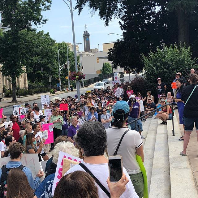 Great morning standing with 5 Million Womxn for Reproductive Rights building the #Womxnswall around the entire Capitol!  It's time to repeal HB481! #noabortionbansga #repealhb481 #gapol