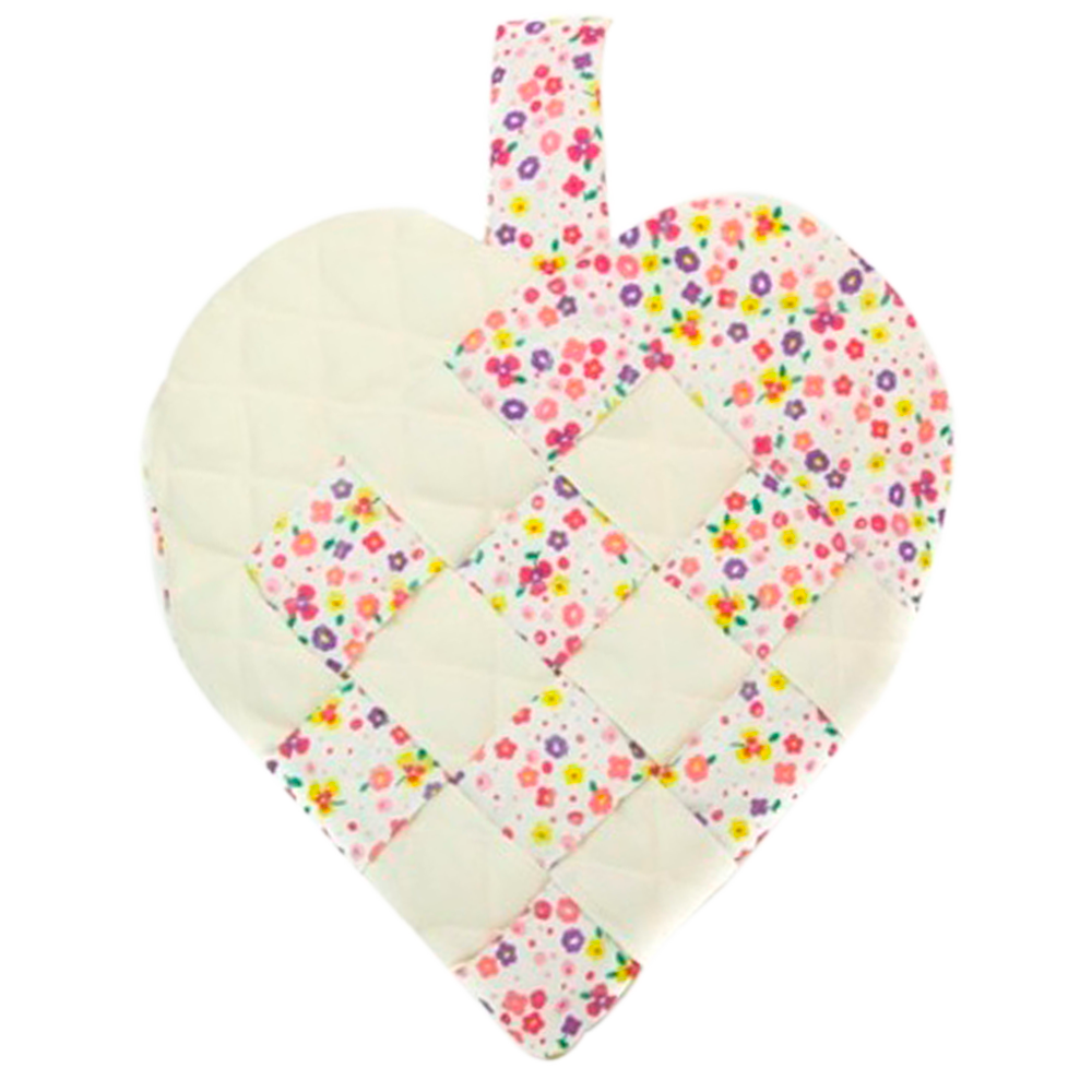 Cream Floral Heart Stocking