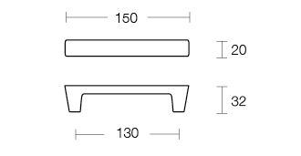 Dimensional Drawing Straight Slim Cabinet Handle