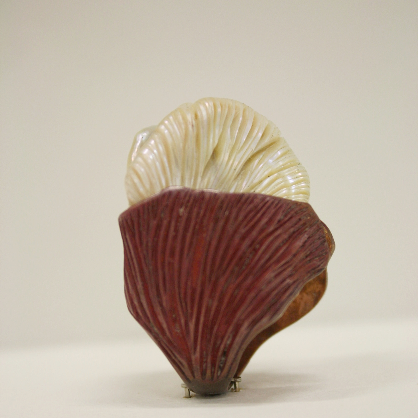 Carved Pearl and patinated copper ring