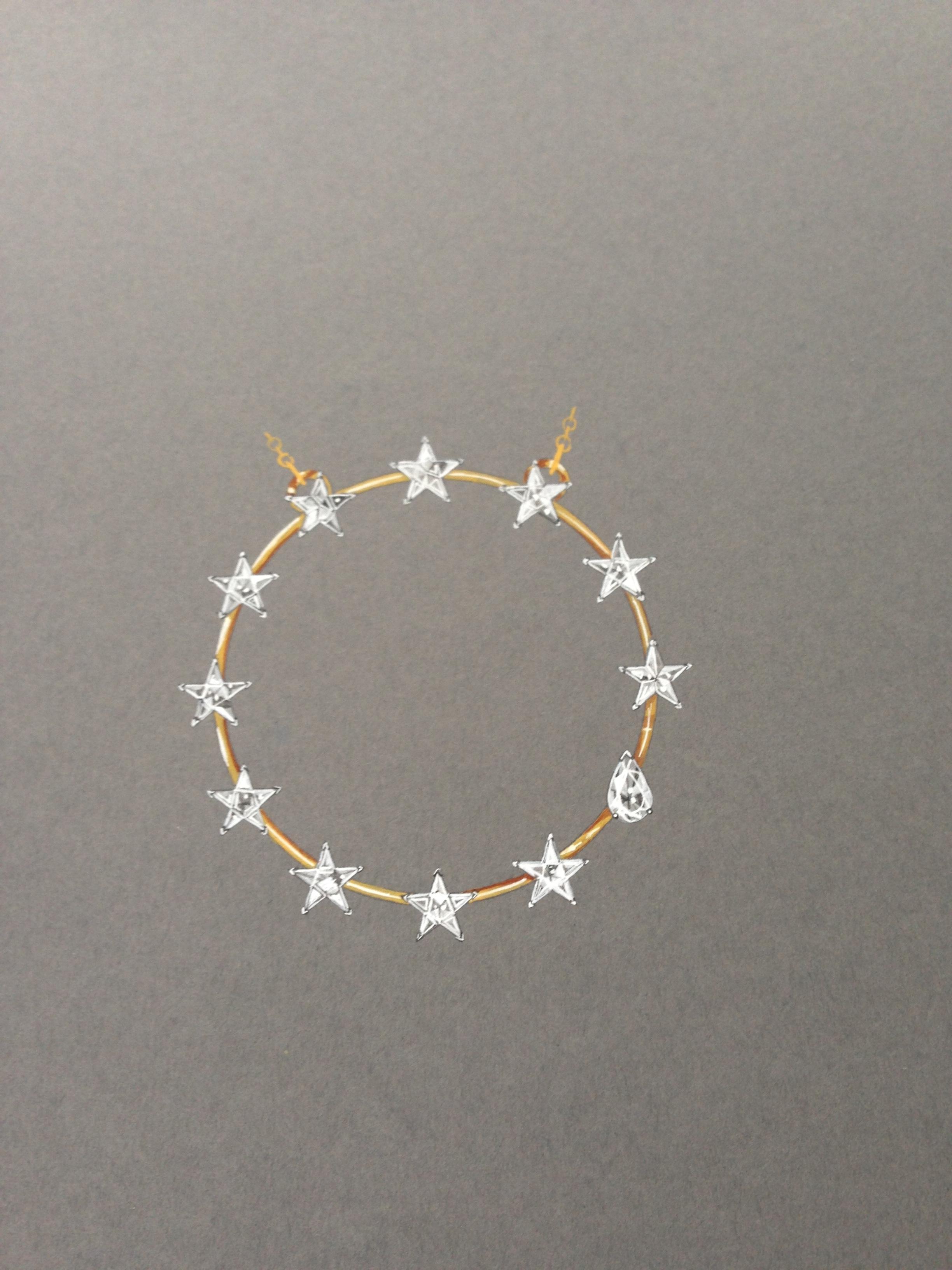 Gold star necklace render