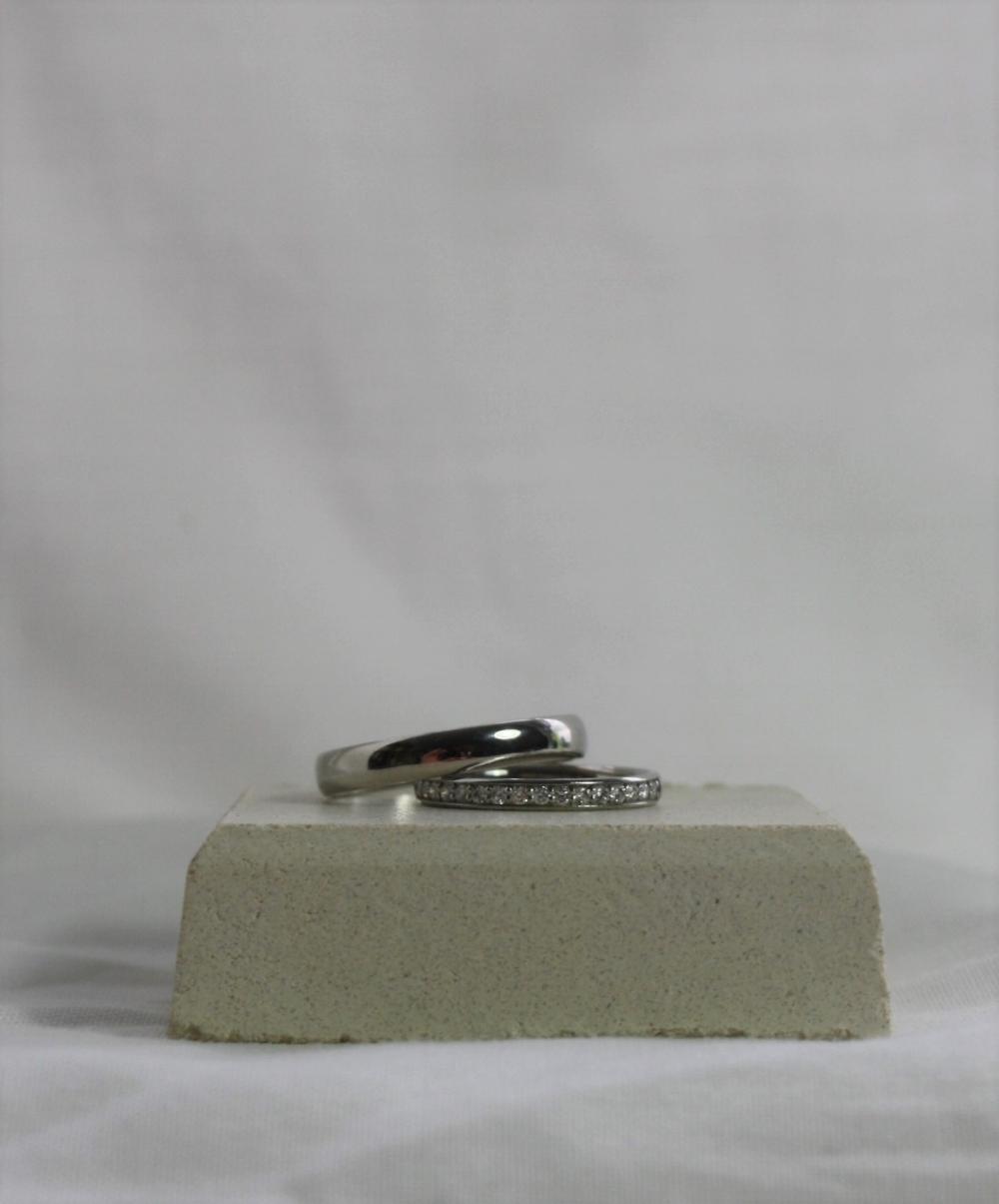 Palladium wedding band with platinum half eternity ring.JPG