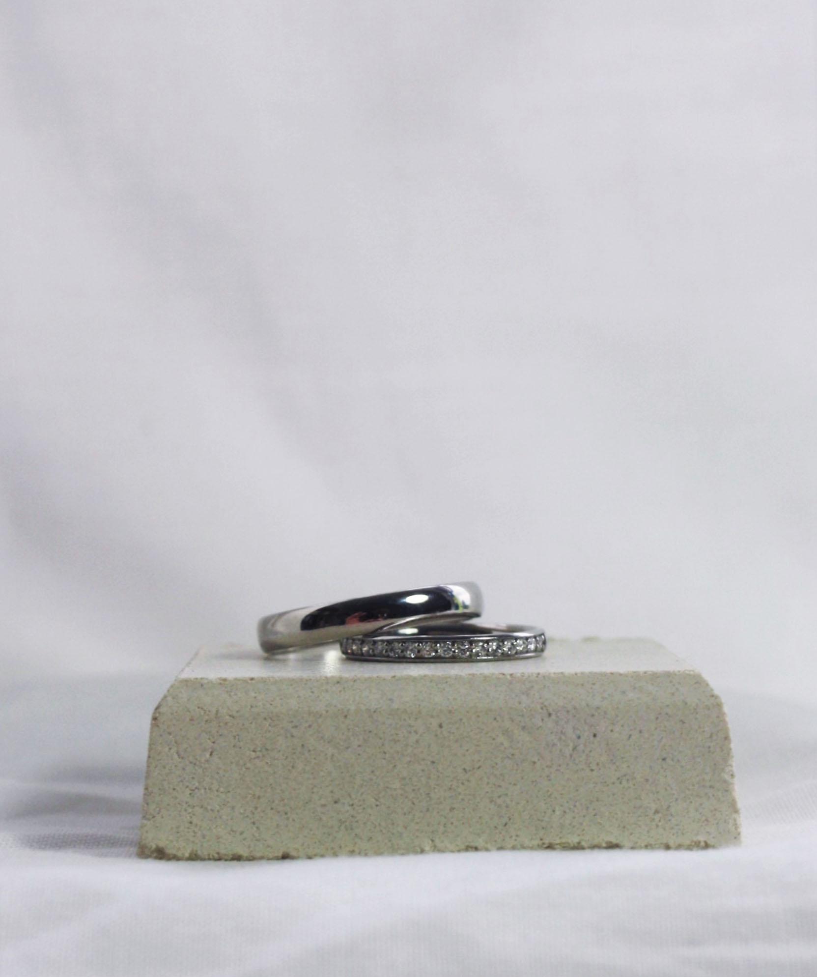 Palladium wedding band with platinum half eternity ring ed.jpg