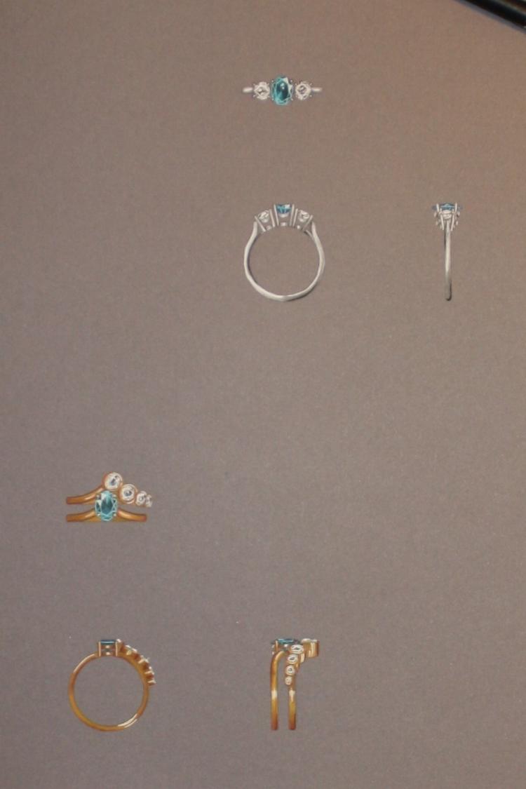 Hand rendered jewellery designs