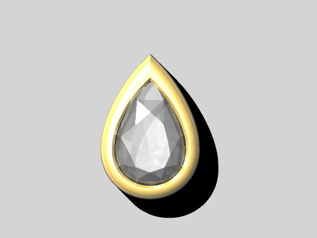 A model of a rubover set pear shaped diamond