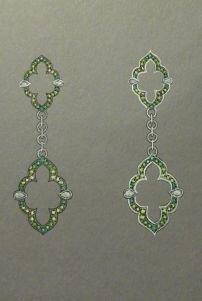 Demantoid garnet earrings design