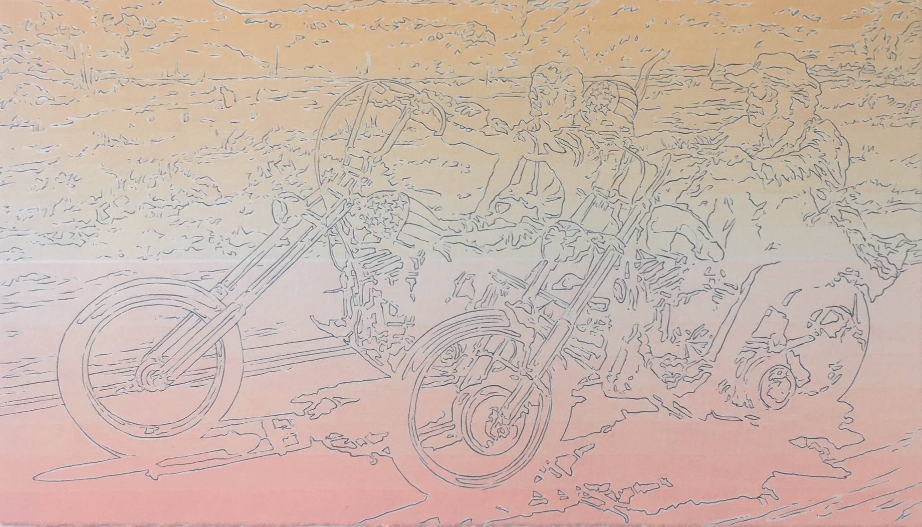 Samuel Stabler,  Easy Rider , pen and acrylic on paper, 8x14 in, 2019