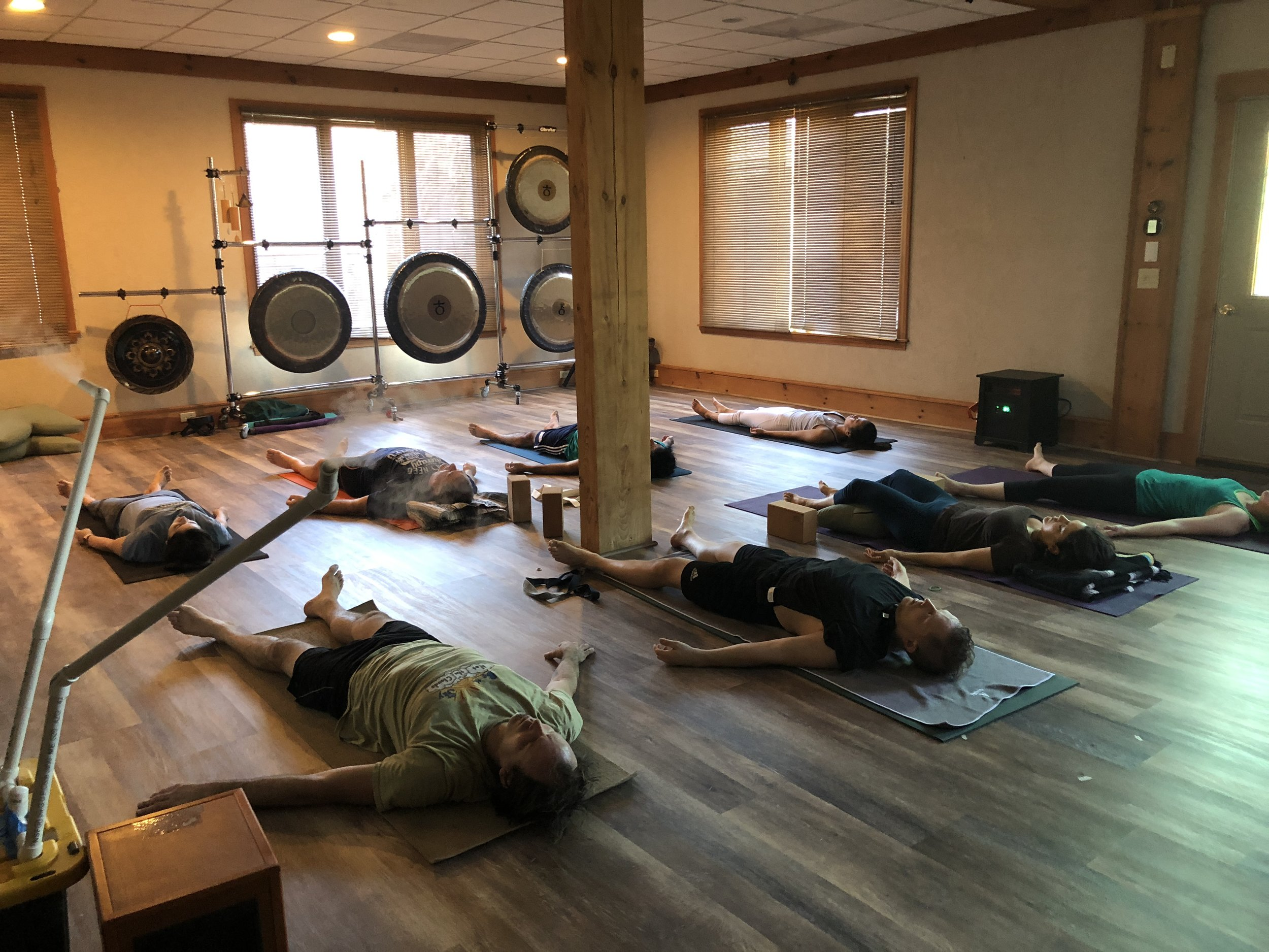 Sound Therapy w/ Symphonic Gong - Relax with us on Saturday evening from 6:30-8:00pm as you enjoy the soothing sounds of the symphonic gongs and singing bowls, and pranayama exercises to settle the mind and connect with the breath.No previous experience necessary.No registration required.