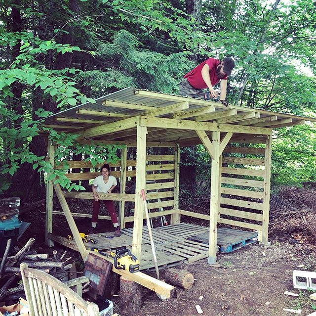 Got summer projects? Us too! Get your build on, summer storage for firewood almost done. #summer #projects #buildingthedream #workandalliscoming #vermont #brattleboro