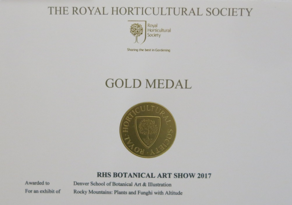 Royal Horticultural Society Botanical Art Show - Gold Medal  I am so proud to be part of the team of faculty members from the Denver Botanic Gardens School of Botanical Art & Illustration who were awarded a gold medal for their group submission.