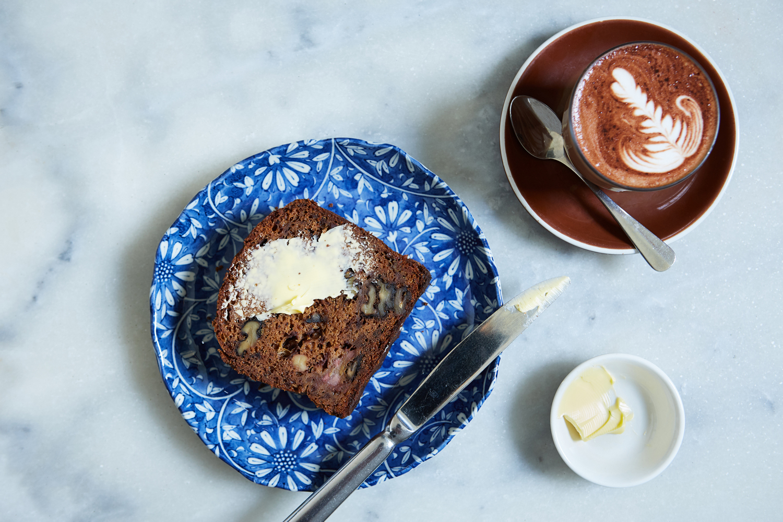 HOMEMADE BANANA BREAD, BUTTER & HOT CHOCOLATE