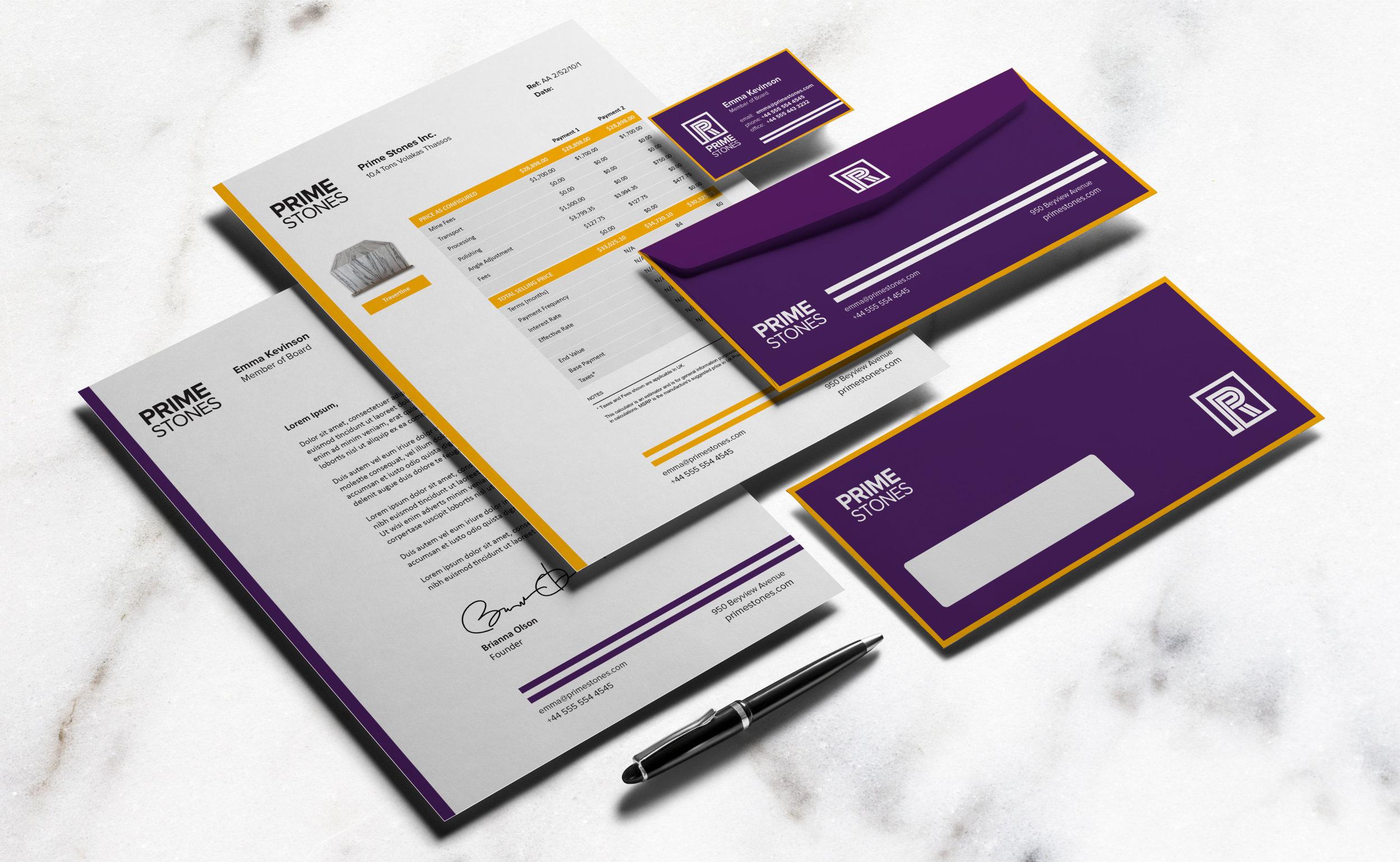 Prime Stones re-branding – Stationary Design three