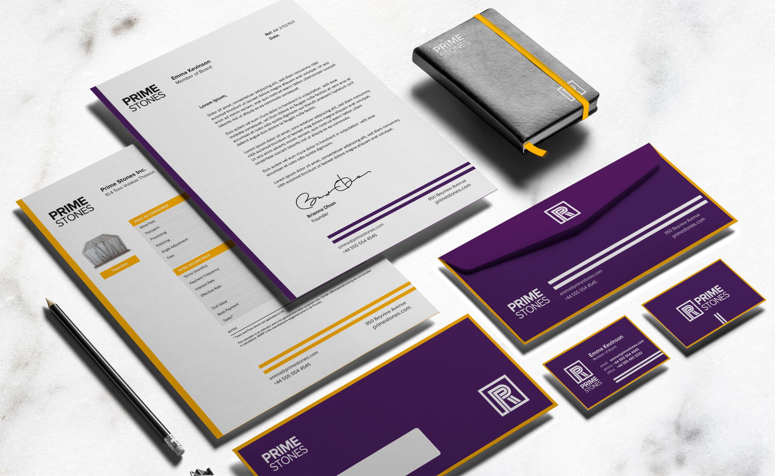 Prime Stones rebranding – Stationary Design one