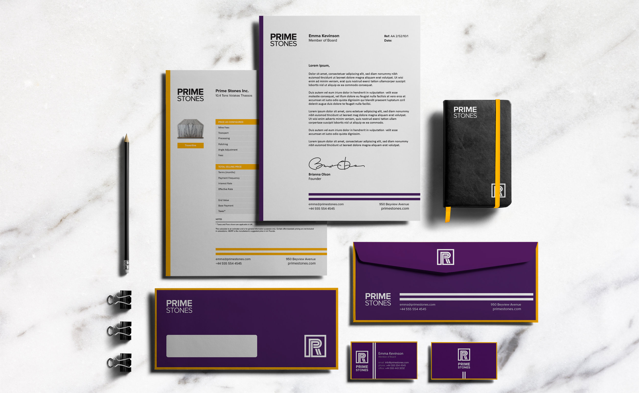 Prime Stones re-branding – Stationary Design two