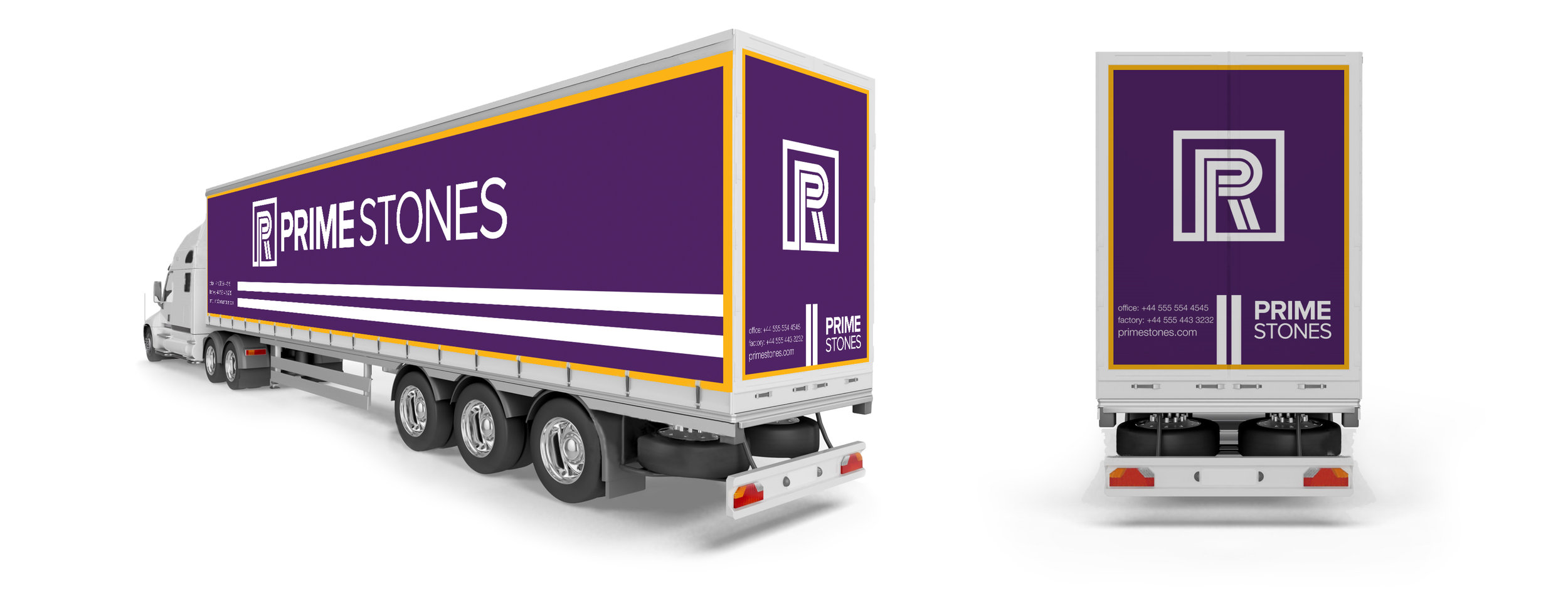 Toronto Brand strategy Design Consultancy studio – Prime Stones rebranding – Truck Livery design