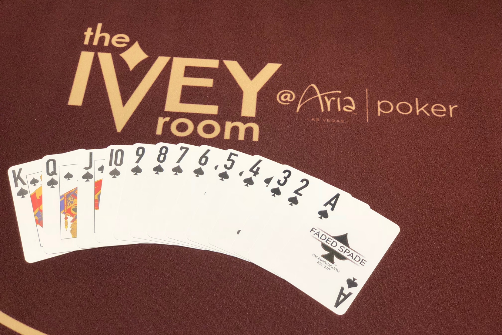 Faded Spade poker playing cards at the Ivey Room at Aria Poker Room
