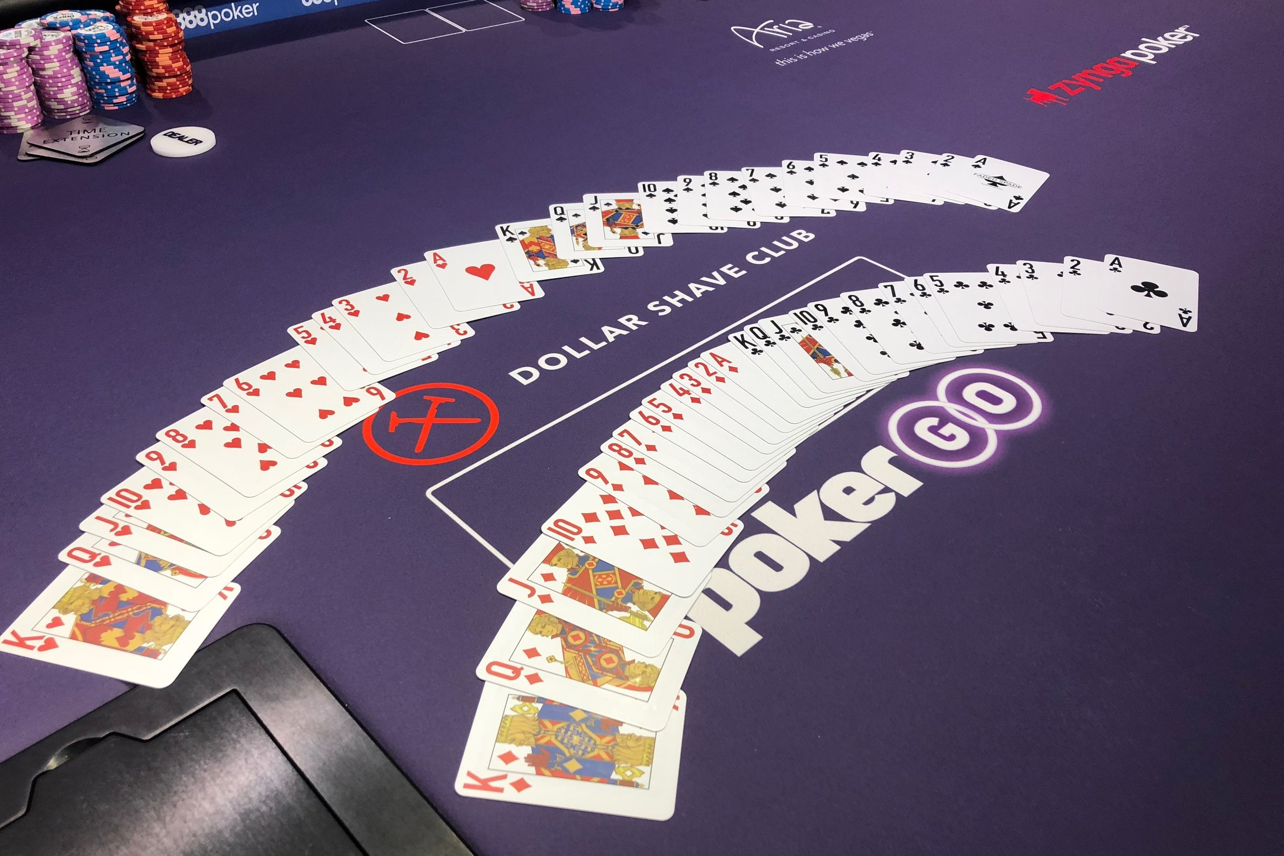 Faded Spade poker room playing cards at the Aria PokerGO Studio