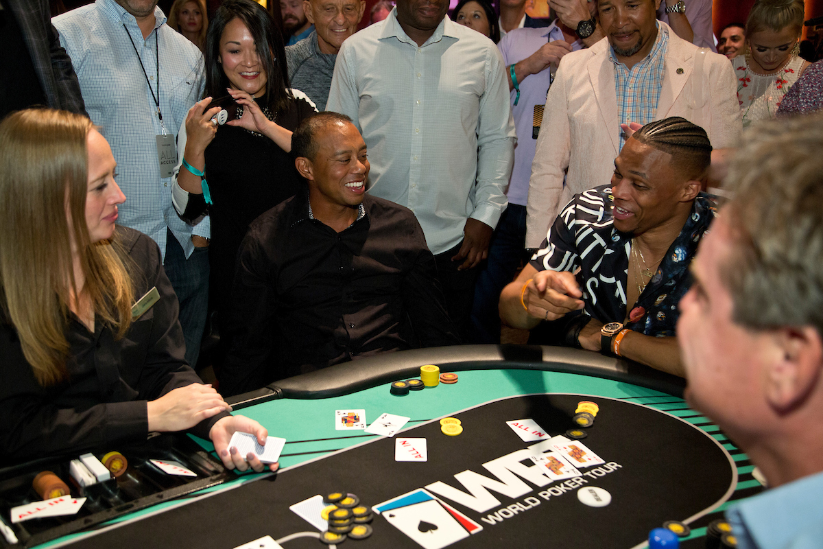 Tiger Woods vs Russell Westbrook with Faded Spade Cards at Tiger's Poker Night
