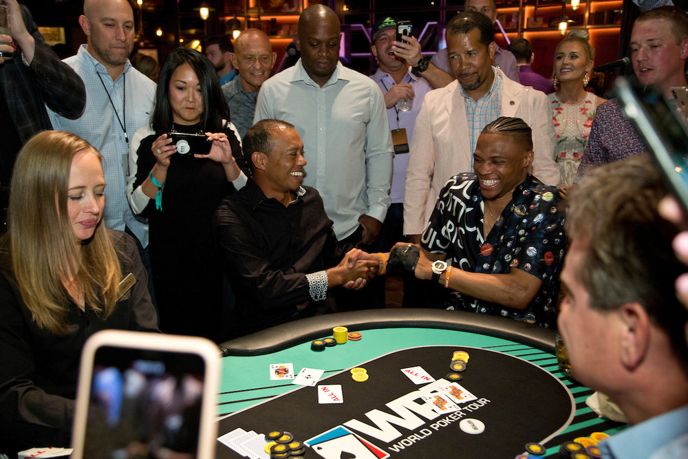 Tiger Woods loses to Russell Westbrook with the Faded Spade poker playing cards Ace King
