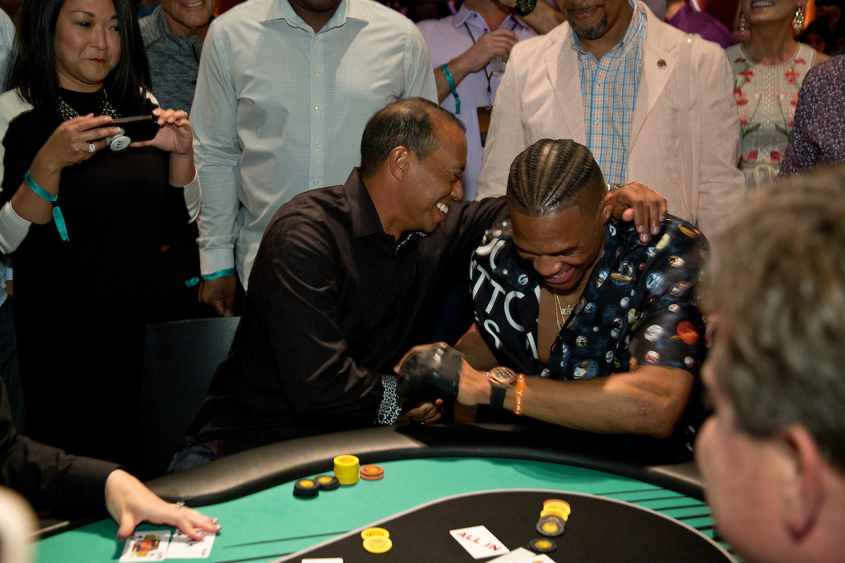 Russell Westbrook beats Tigers Woods with the Faded Spade poker playing cards Queens
